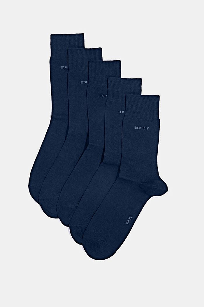 Ponožky ze směsi s bio bavlnou, 5 párů v balení, MARINE, detail image number 0