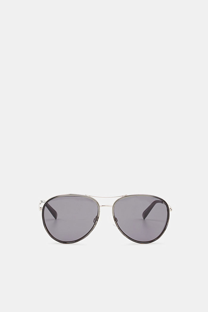 Unisex sunglasses with widened metal frames, GREY, detail image number 0