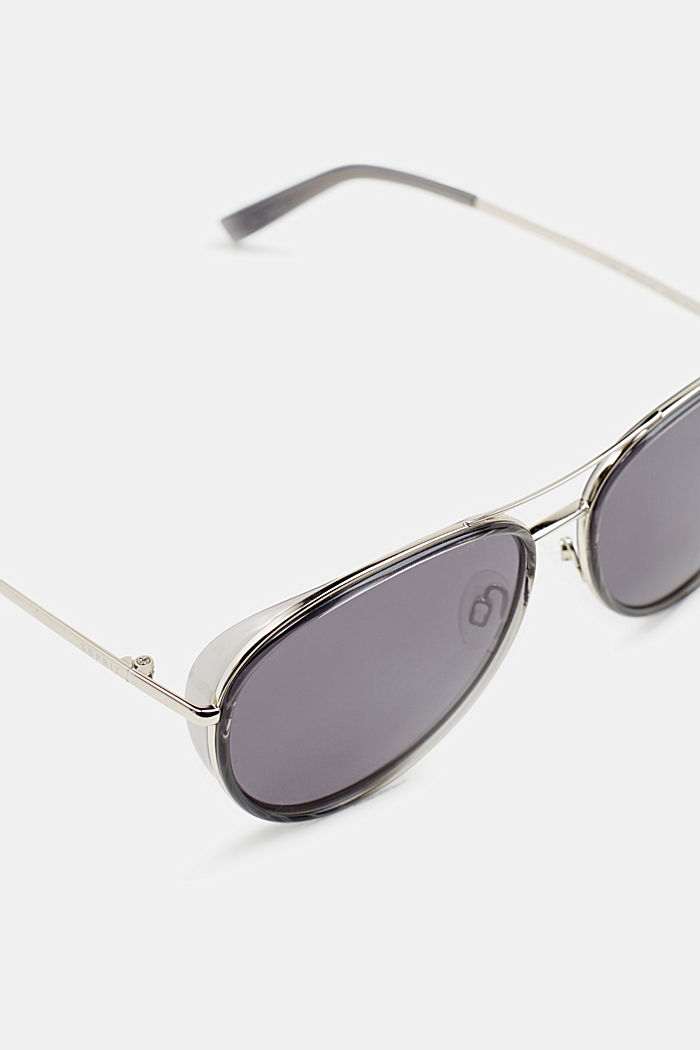 Unisex sunglasses with widened metal frames, GREY, detail image number 1