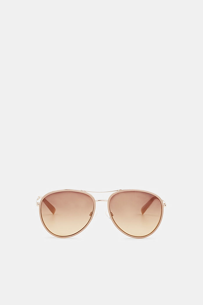 Unisex sunglasses with widened metal frames, BROWN, detail image number 0