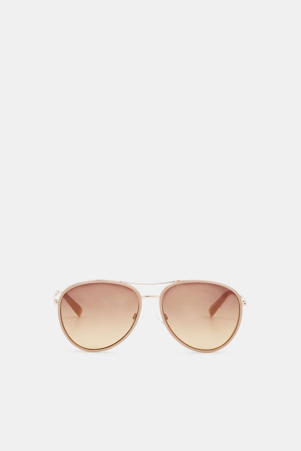 Unisex sunglasses with widened metal frames, LCBROWN, detail image number 0