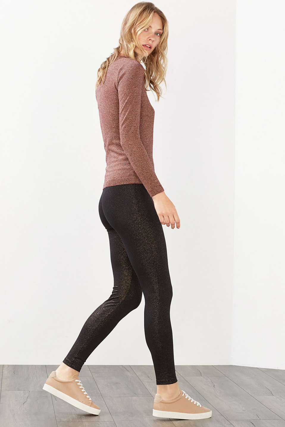 Esprit - Metallic-Print Leggings, Baumwoll-Stretch