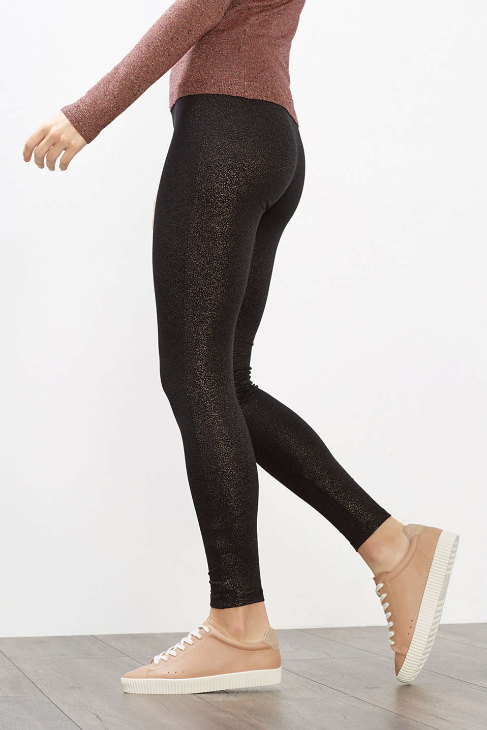 Metallic-Print Leggings, Baumwoll-Stretch