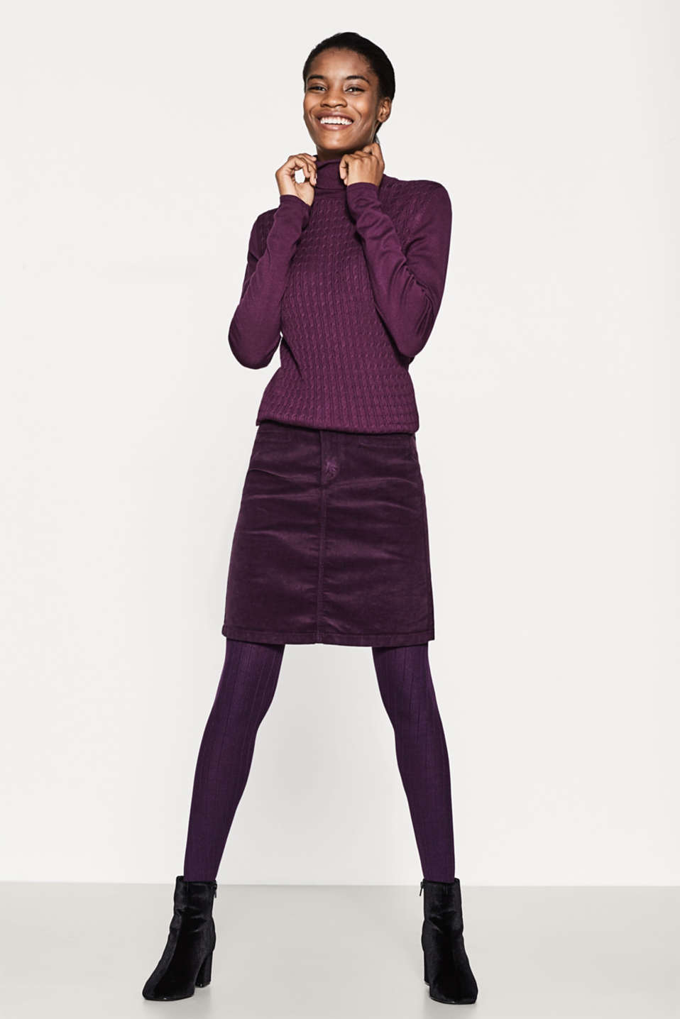 Esprit - Opaque, finely ribbed tights