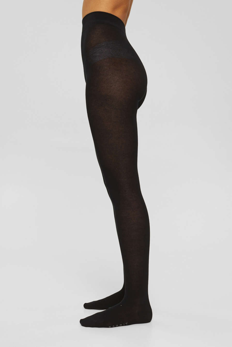 Tights in blended cotton with added stretch, BLACK, detail image number 0