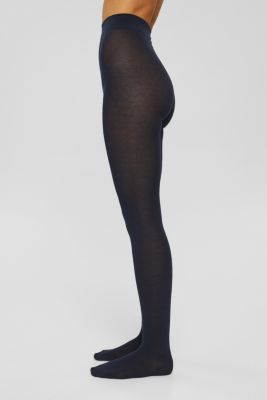Tights in blended cotton with added stretch, MARINE, detail