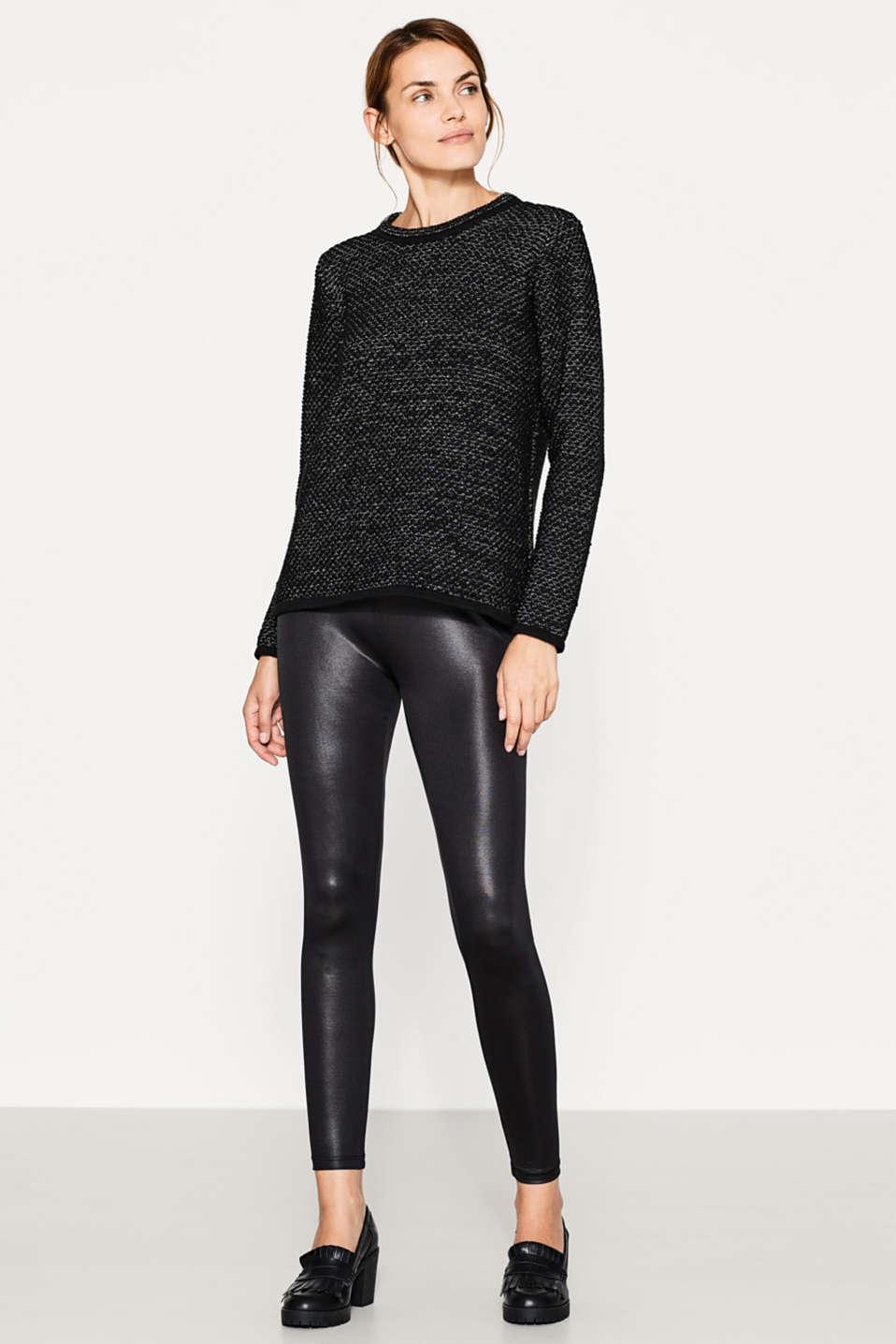 esprit legging met stijlvolle wet look kopen in de online shop. Black Bedroom Furniture Sets. Home Design Ideas
