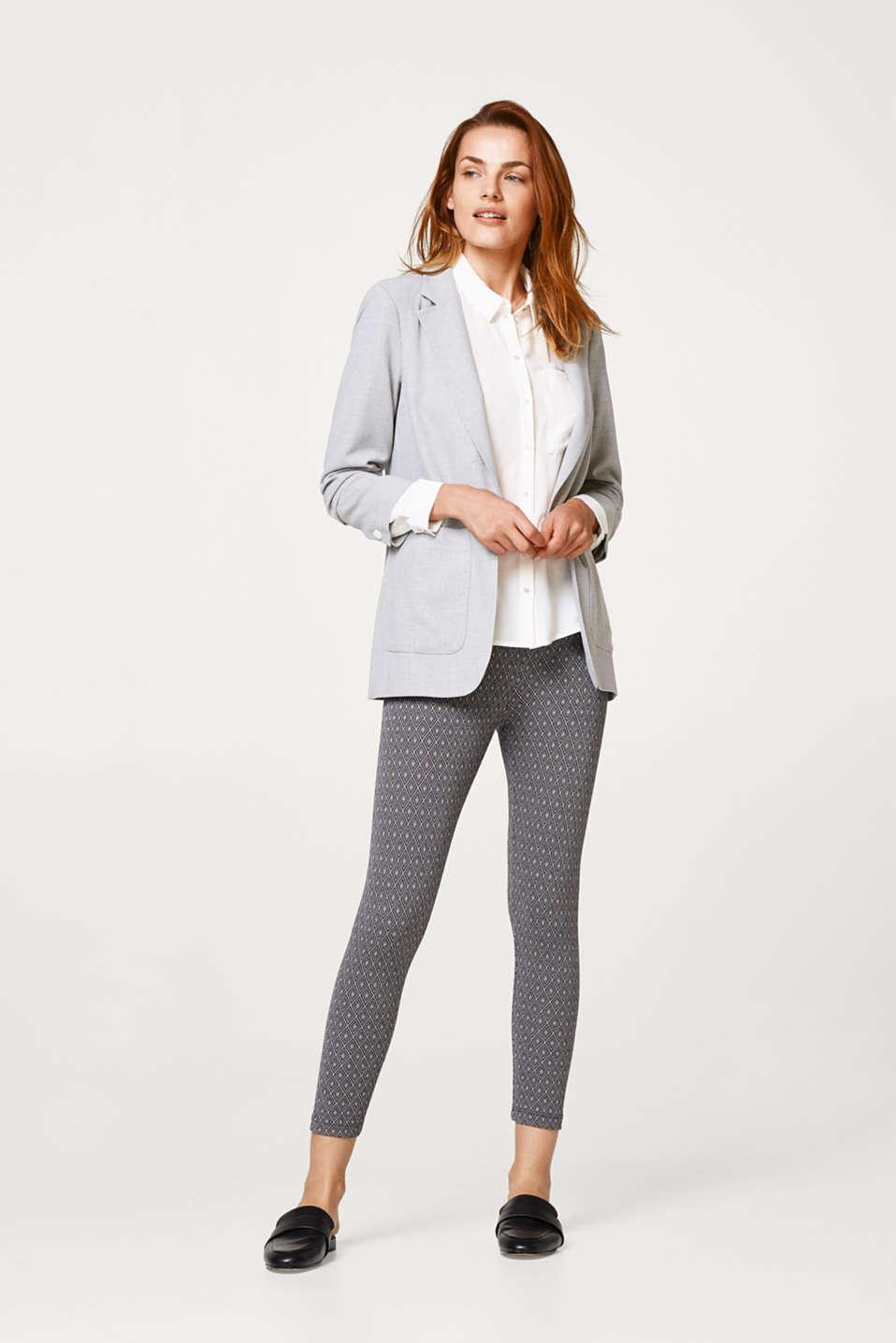 7/ 8 leggings with jacquard pattern, ANTHRACITE MELANGE, detail image number 1