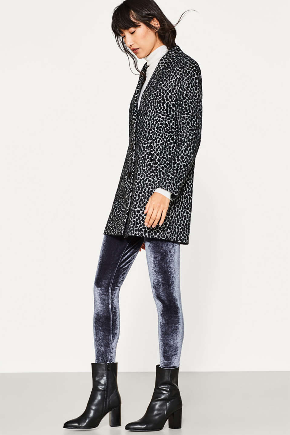 Esprit - Leggings in shimmering velvet