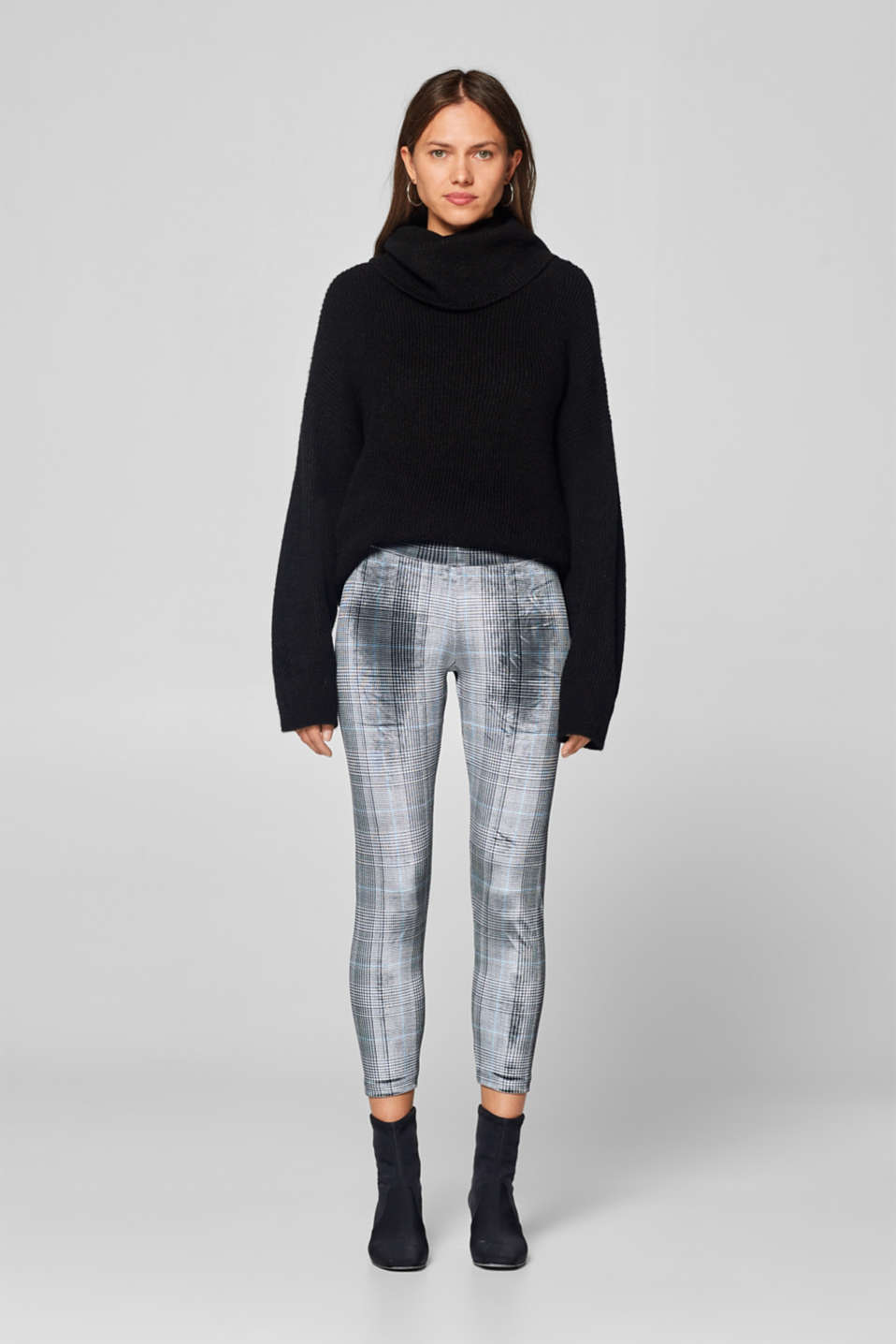 Esprit - Velvety leggings with a glencheck pattern