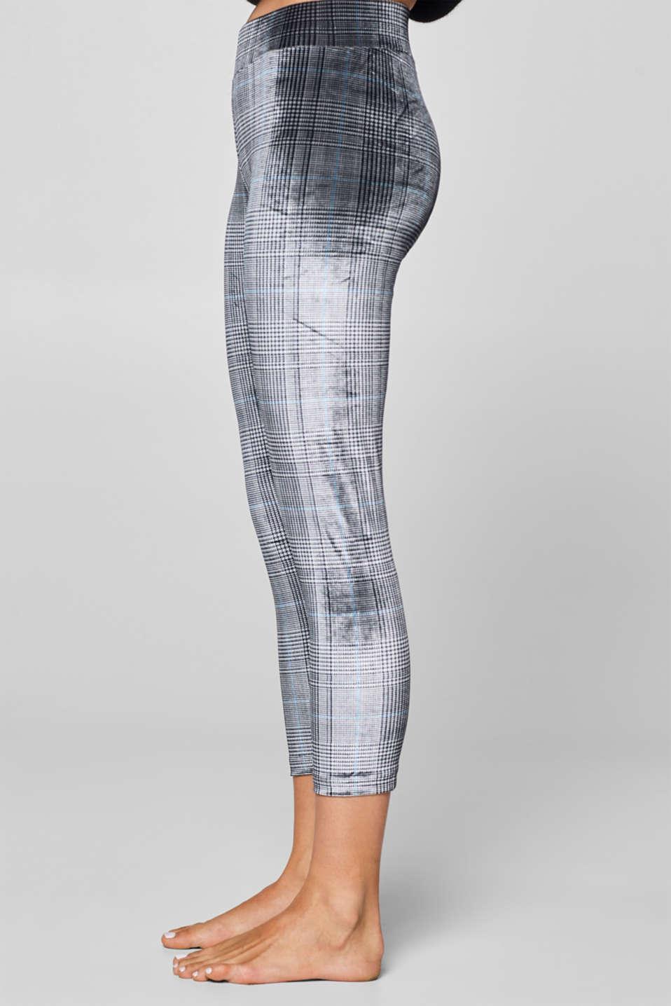 Velvety leggings with a glencheck pattern, LIGHT GREYMELANGE, detail image number 1