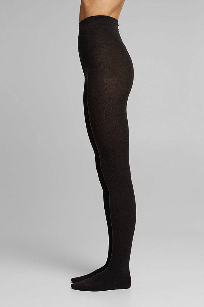 Wool blend: melange tights, BLACK, detail image number 0