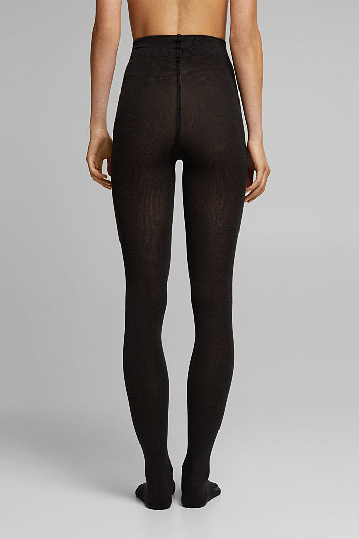 Wool blend: melange tights, BLACK, detail image number 1