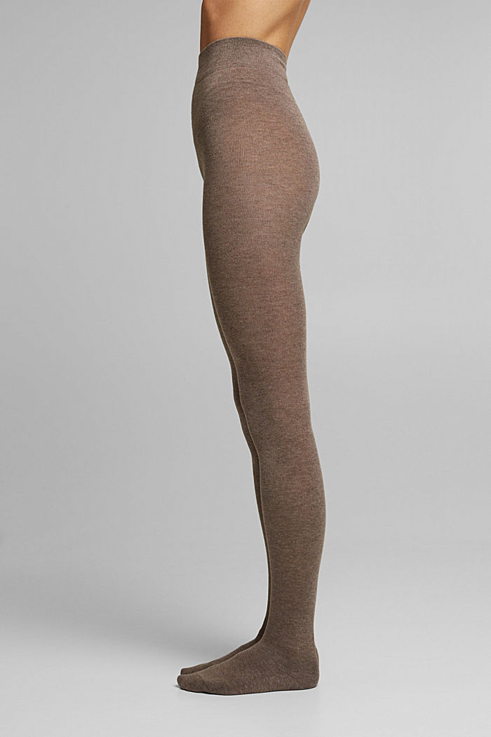 Wool blend: melange tights, BROWN, detail image number 0