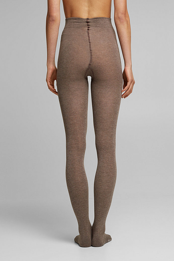 Wool blend: melange tights, BROWN, detail image number 1