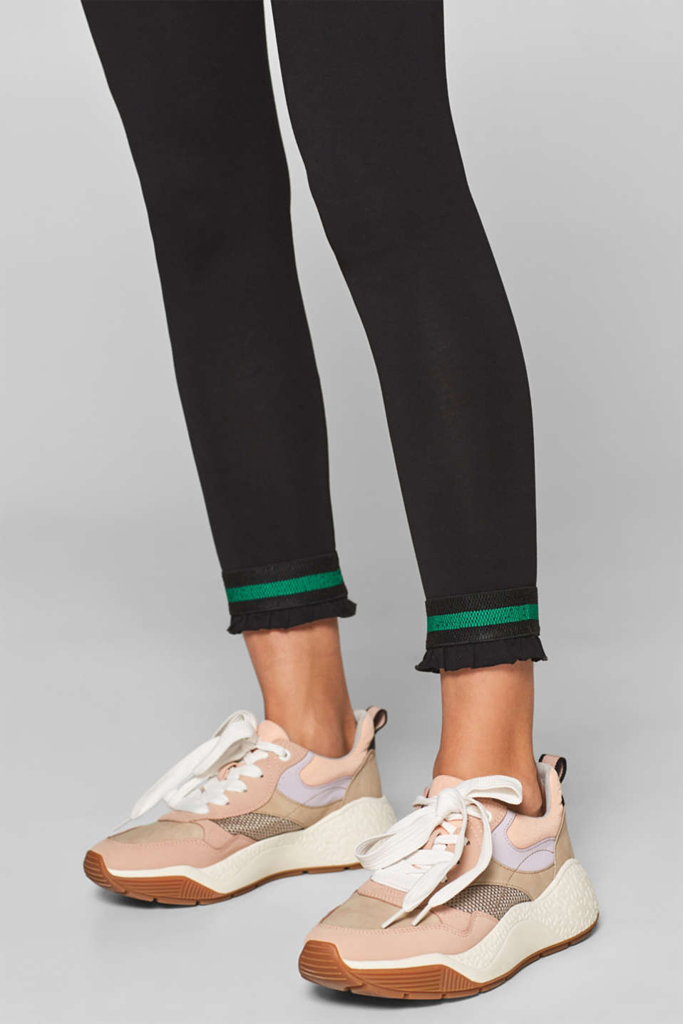Leggings with stripes and frills, BLACK, detail image number 2