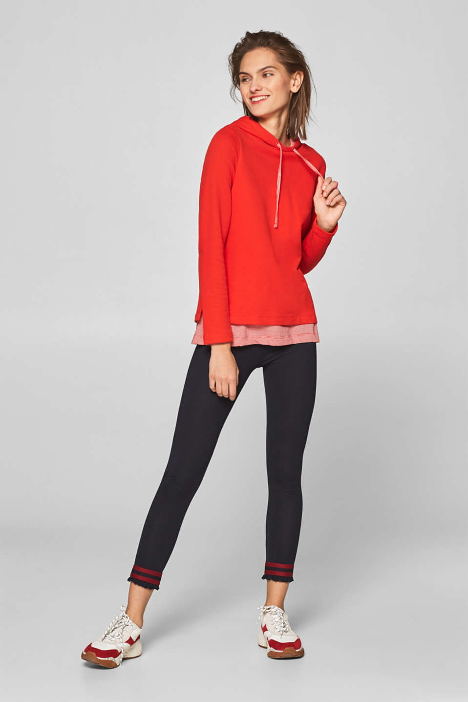 Esprit - Stretch cotton leggings with frills