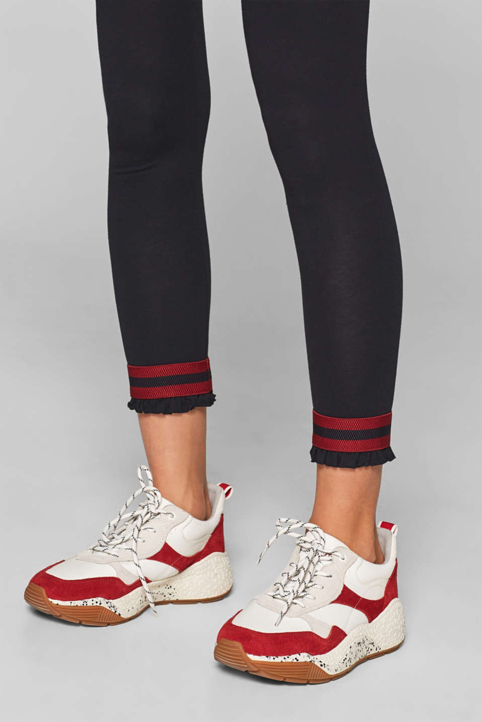 Stretch cotton leggings with frills, MARINE, detail image number 2