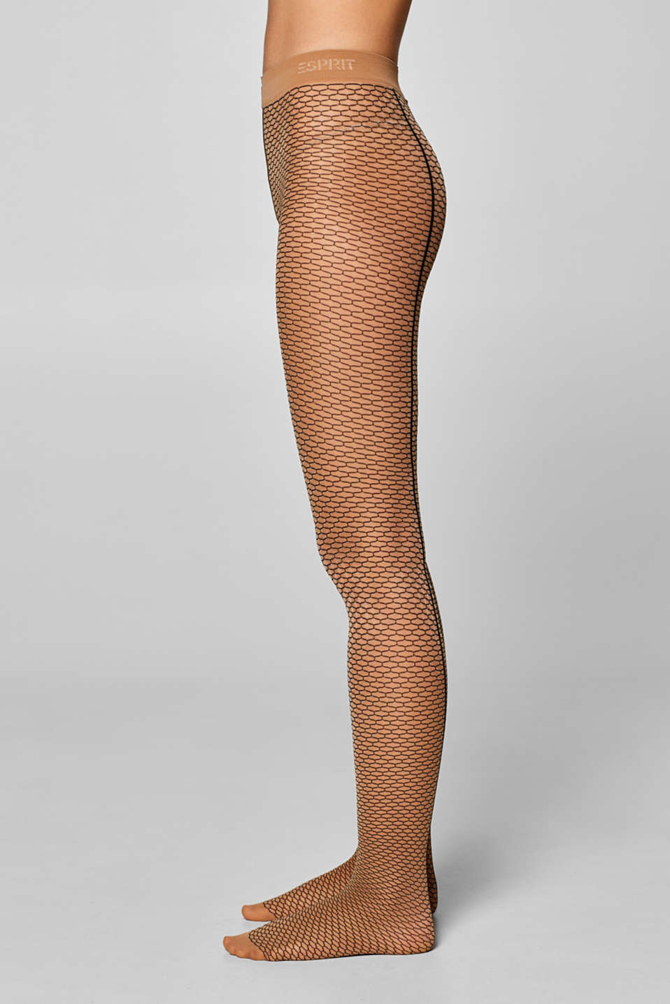 Fine tights with a honeycomb texture, POWDER/BLACK, detail image number 2