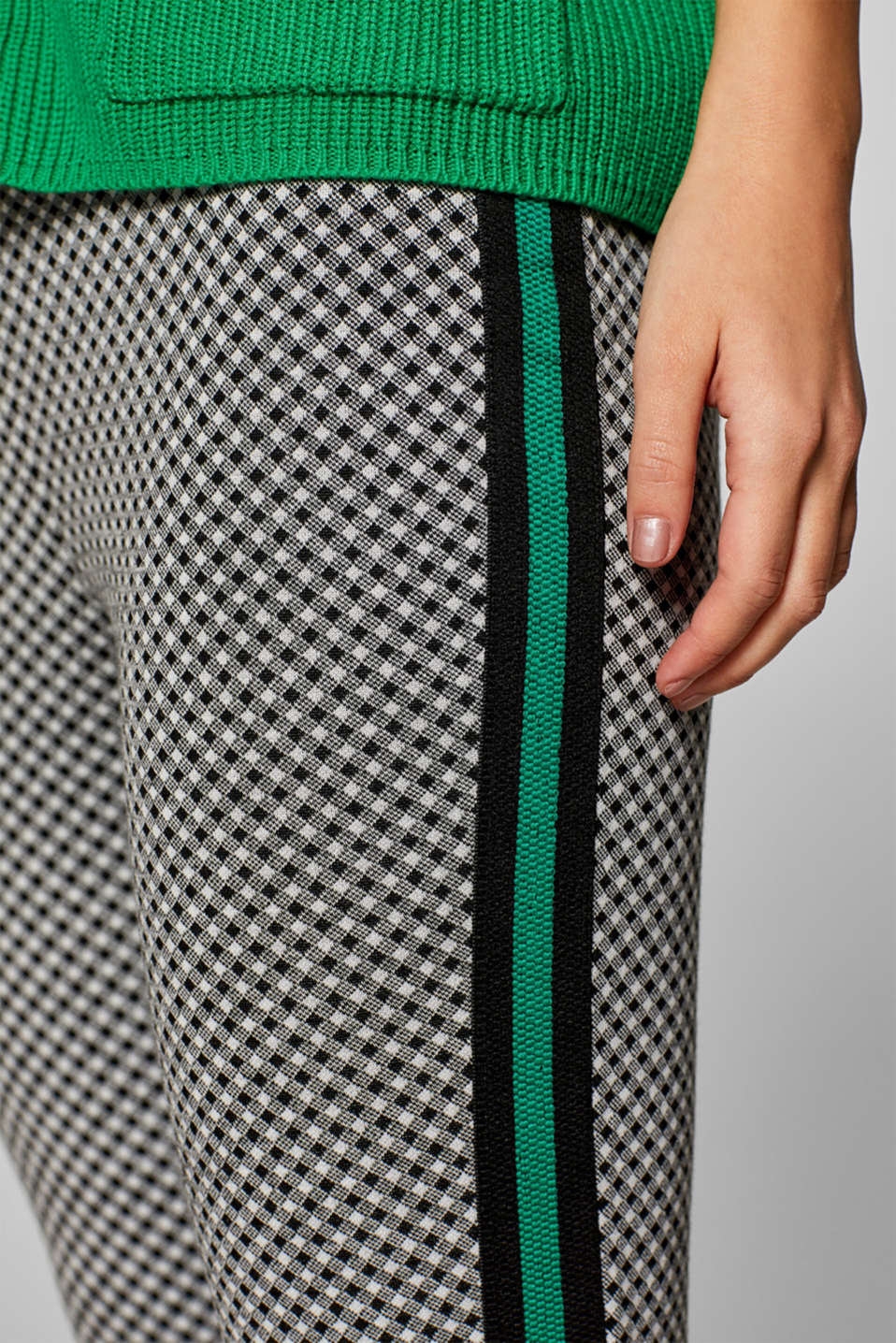 Cropped leggings with racing stripes, BLACK, detail image number 2