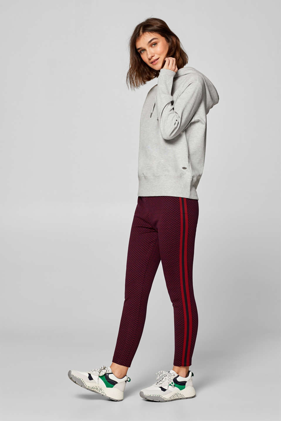 Esprit - Cropped leggings with racing stripes