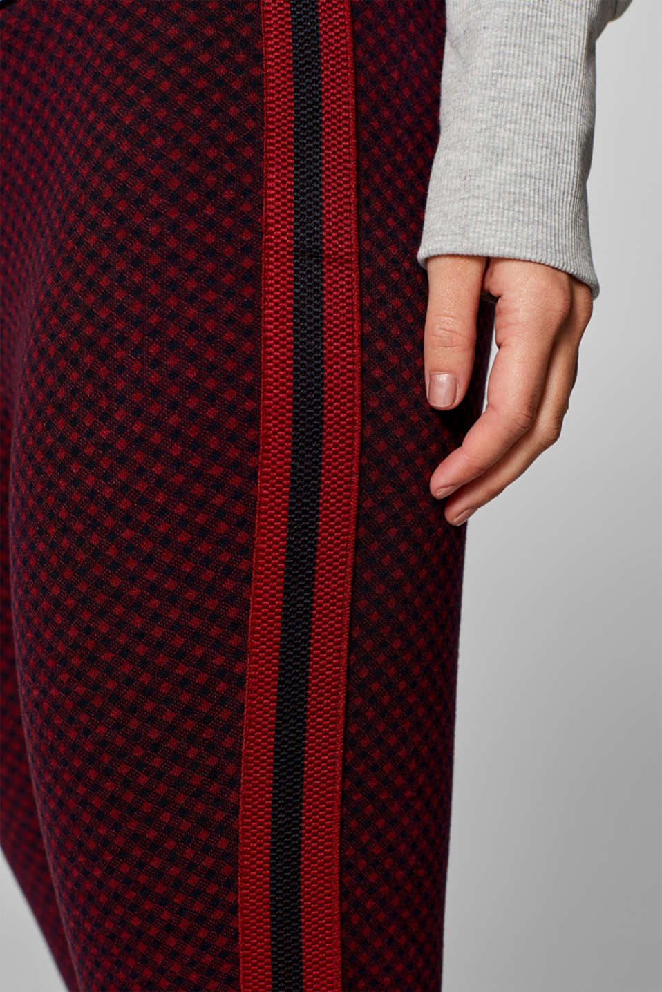 Cropped leggings with stripes, WINE, detail image number 2