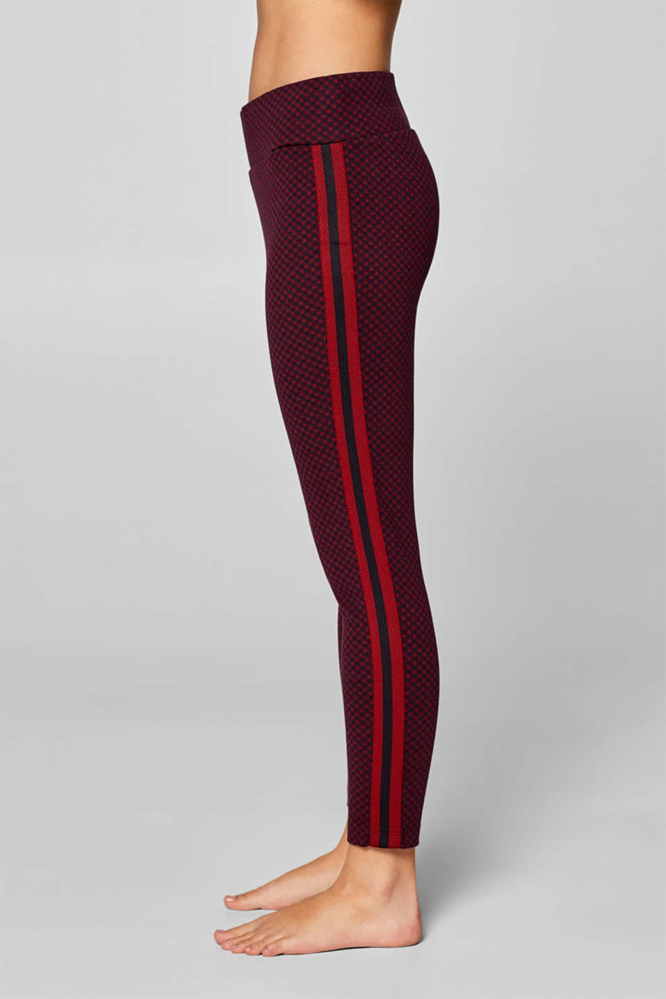 Cropped leggings with stripes, WINE, detail image number 1