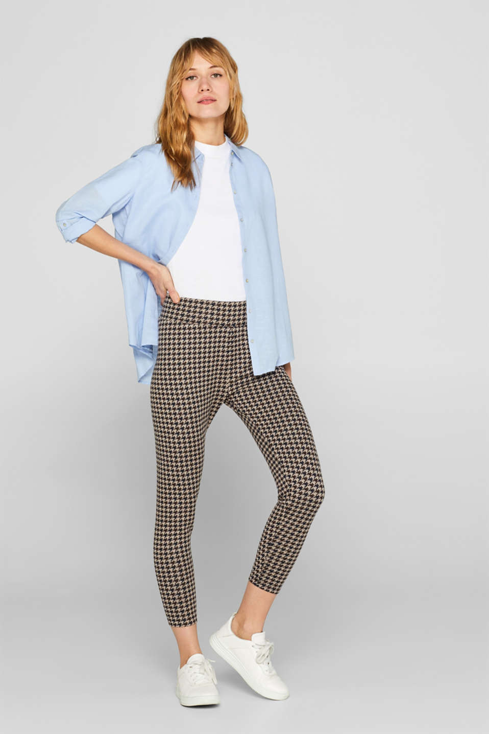 Esprit - Leggings with a houndstooth check pattern
