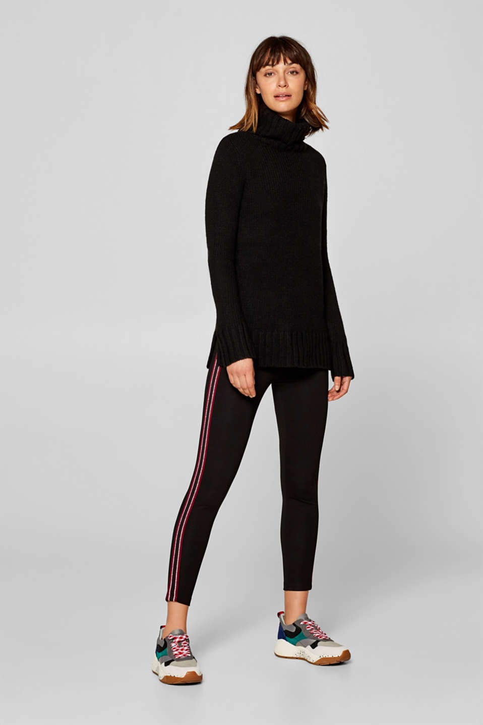 Esprit - 7/8 leggings with glittery tuxedo stripes