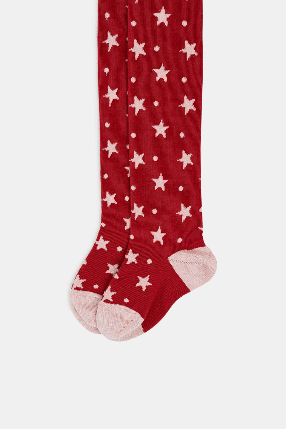 Tights with sparkly stars, CHERRY RED, detail image number 1
