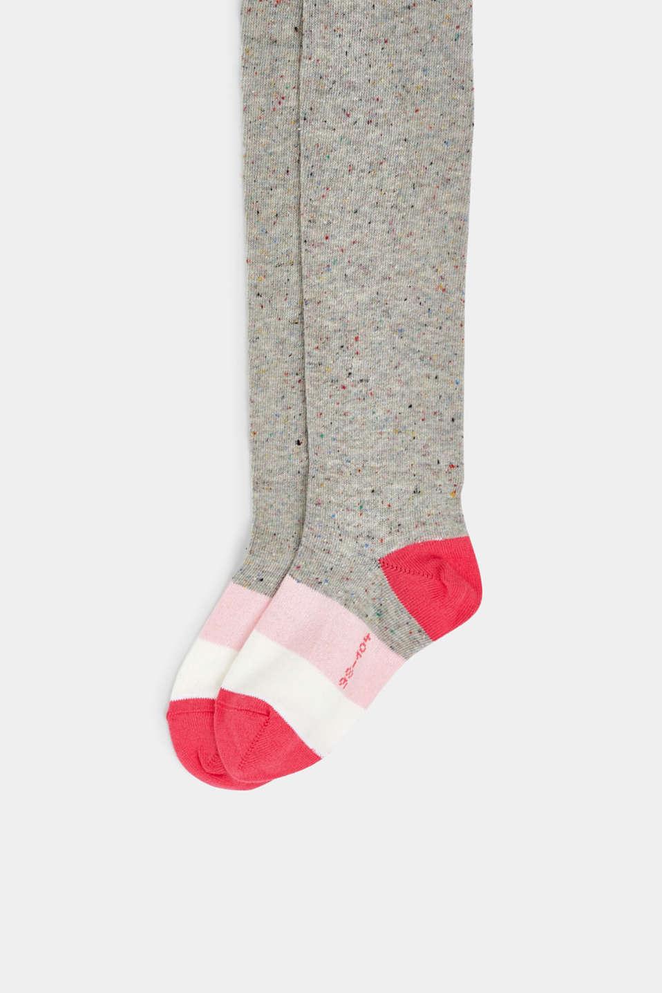 Knit blended cotton tights, LIGHT GREY, detail image number 1