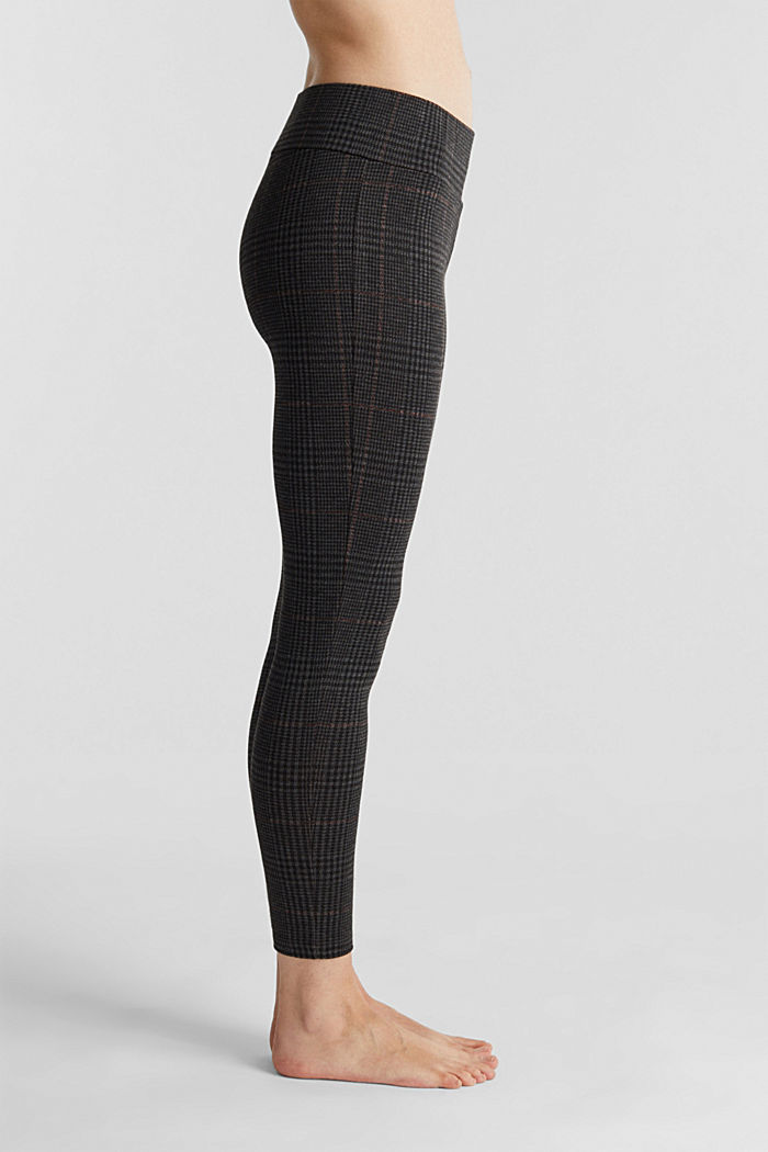 7/8-Leggings mit Karo-Muster, BLACK, detail image number 1