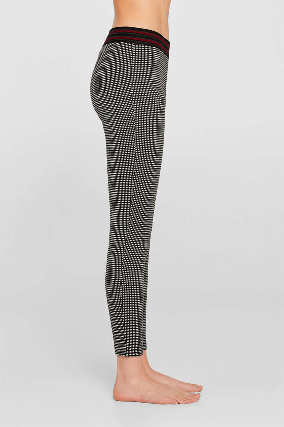 Checked leggings with a contrast waistband, BLACK, detail image number 0