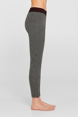 Checked leggings with a contrast waistband, BLACK, detail