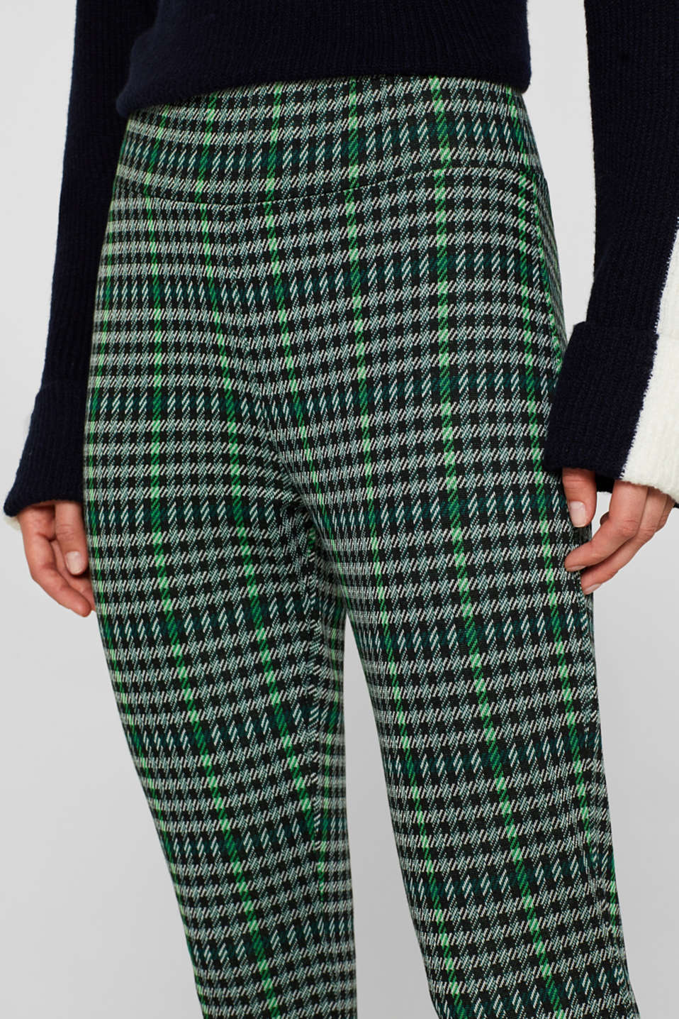 Ankle-length leggings in a checked look, BLACK, detail image number 2