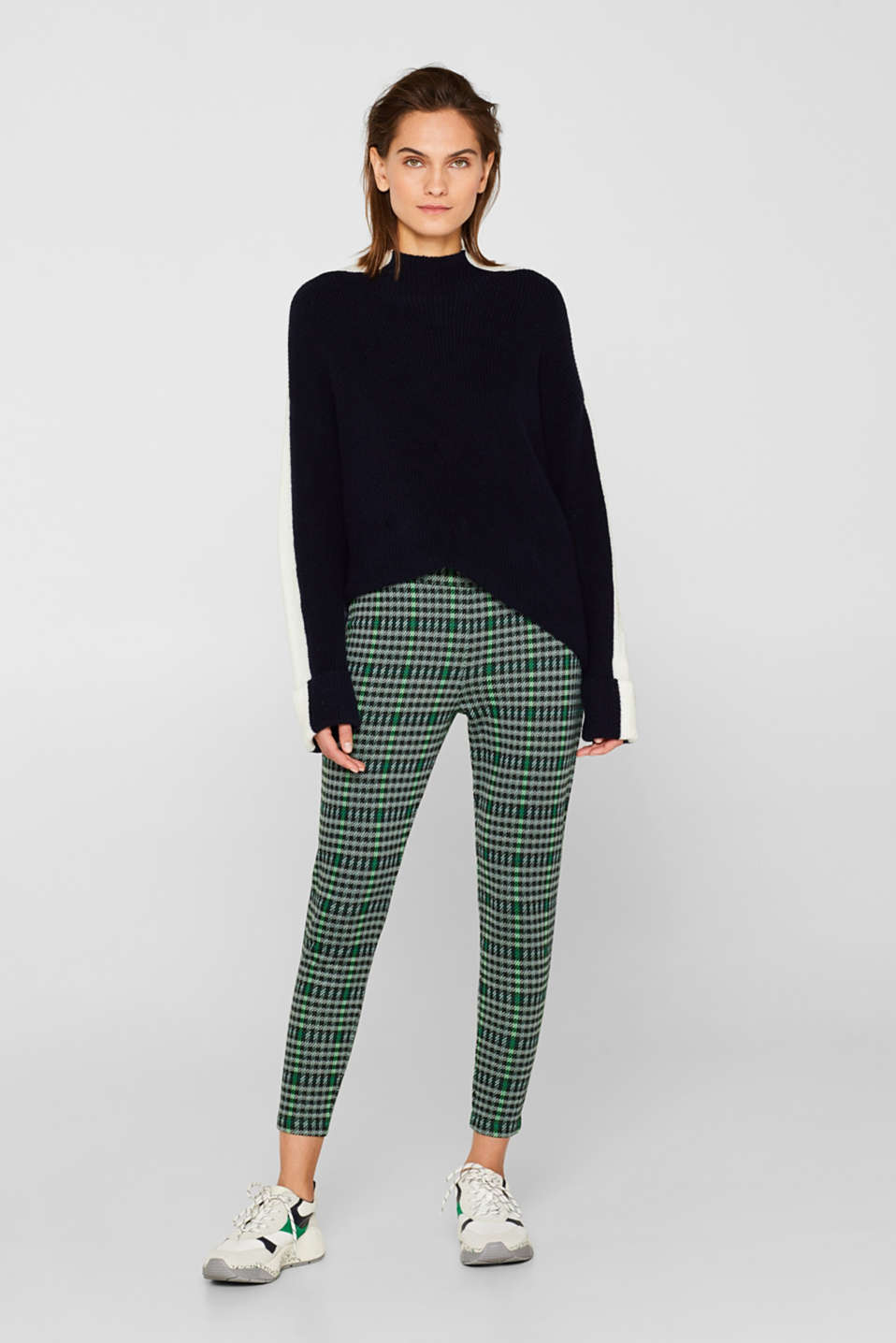 Ankle-length leggings in a checked look, BLACK, detail image number 1