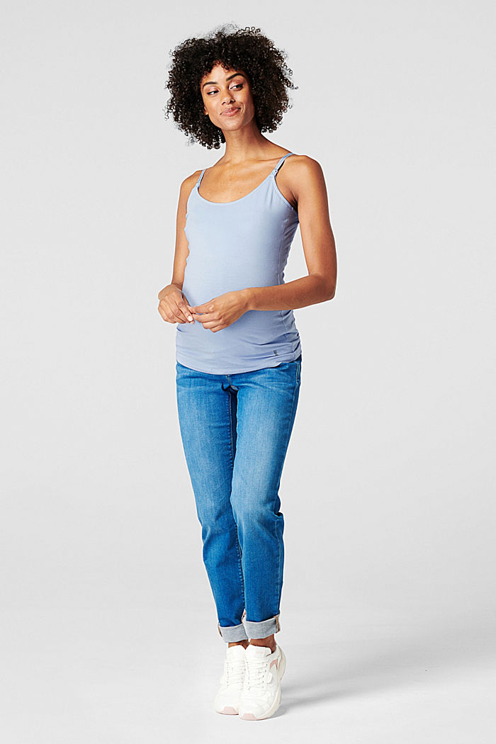 Stretch nursing top, organic cotton, LIGHT BLUE, detail image number 0