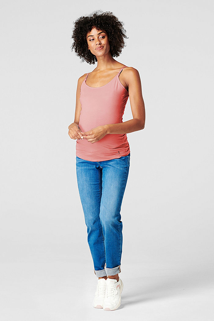 Stretch nursing top, organic cotton, ROSE SCENT, detail image number 0