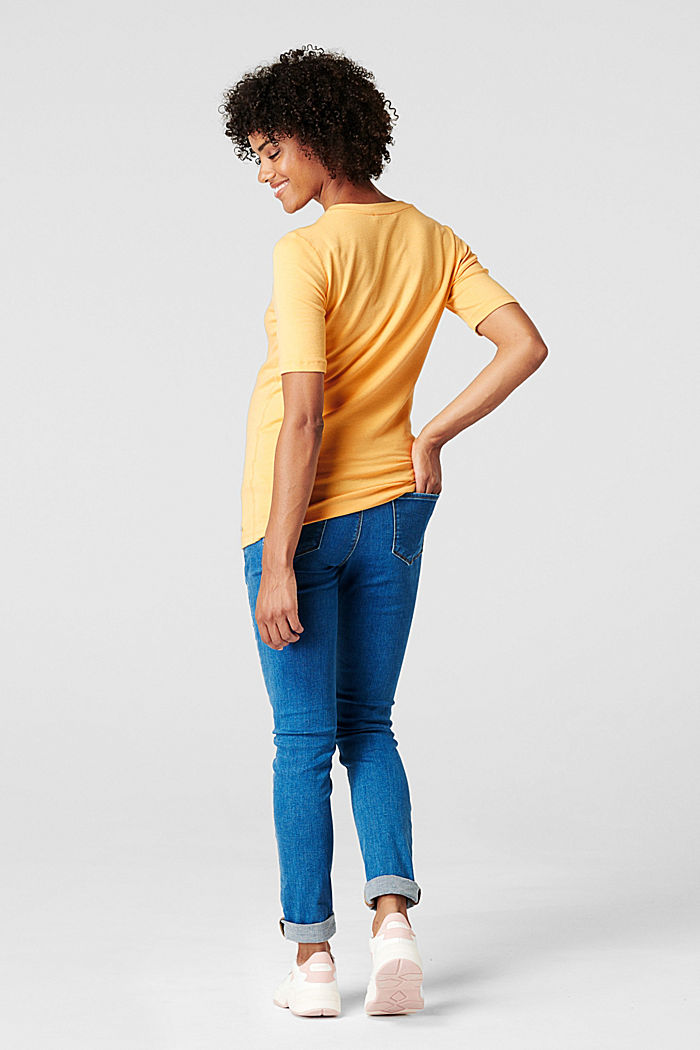 Stretch top with organic cotton, DUSTY YELLOW, detail image number 1
