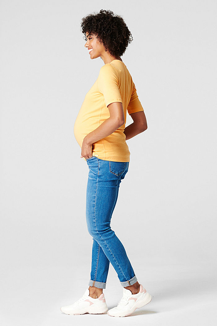Stretch top with organic cotton, DUSTY YELLOW, detail image number 3