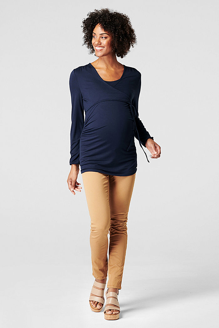 Wrap-over effect long sleeve nursing top