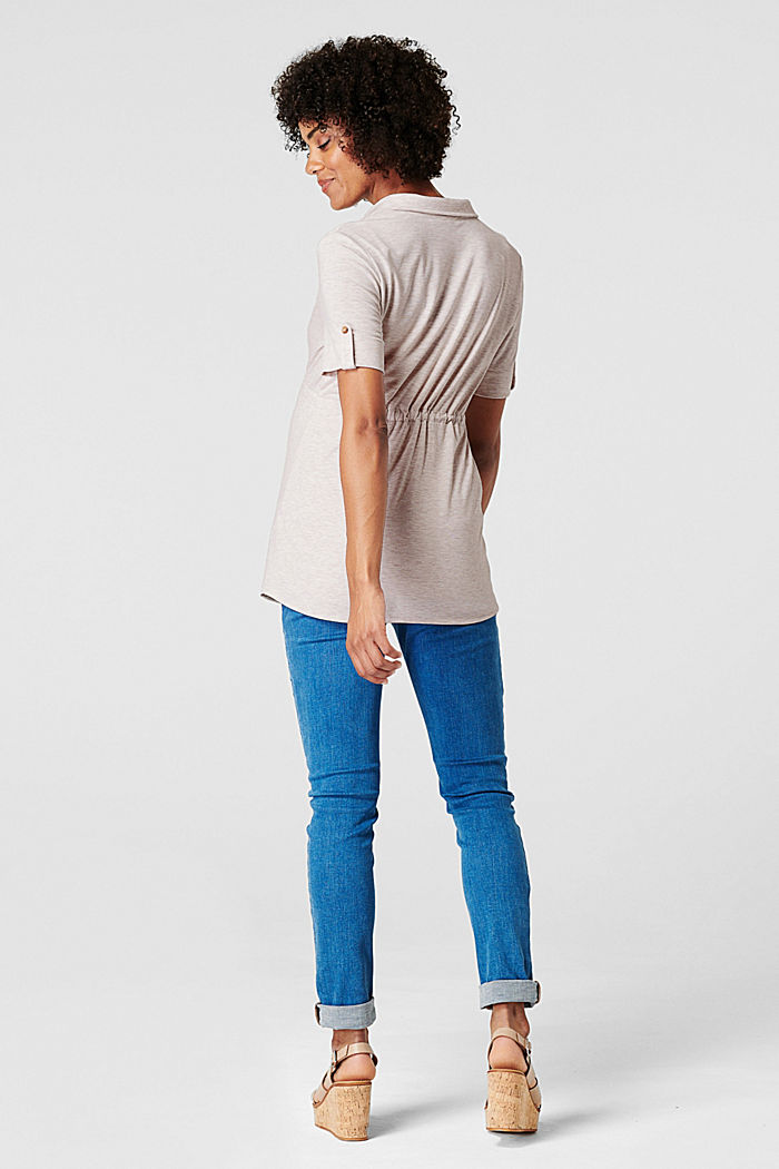 Nursing-friendly blouse-style T-shirt, OATMEAL MELANGE, detail image number 2