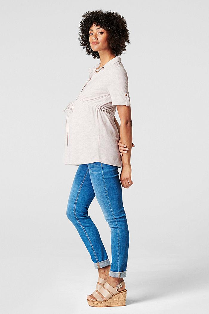 Nursing-friendly blouse-style T-shirt, OATMEAL MELANGE, detail image number 4