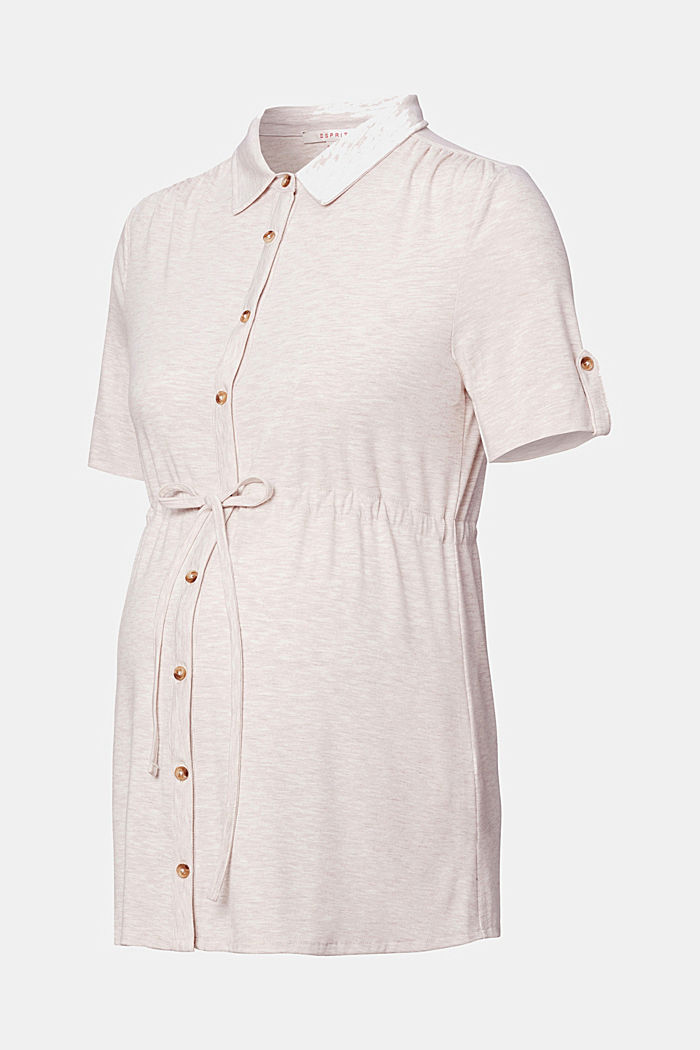 Nursing-friendly blouse-style T-shirt
