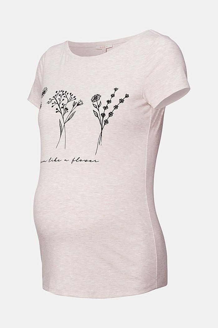 Botanical print T-shirt, OATMEAL MELANGE, detail image number 4