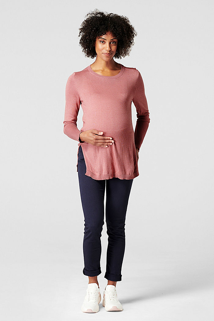 Fine knit jumper with side slits, ROSE SCENT, overview
