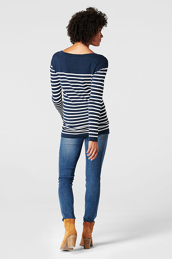 Pullover in maglia sottile, 100% cotone, NIGHT BLUE, detail image number 1