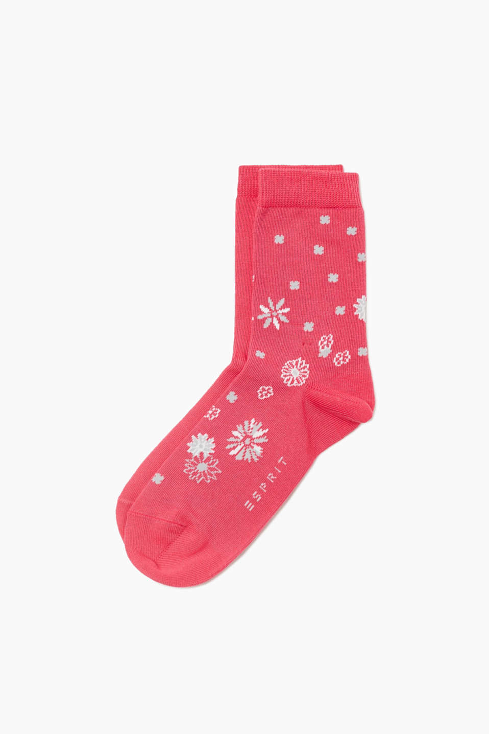 Esprit - Double pack of socks with a floral pattern