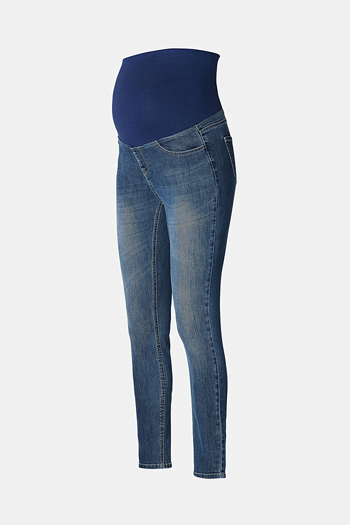 Stretch jeggings with an over-bump waistband