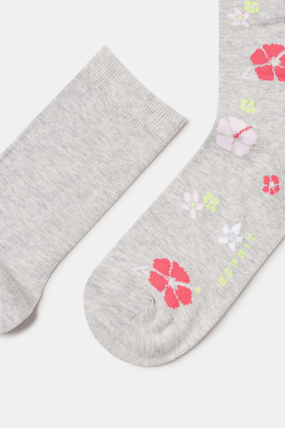 Double pack of socks with sparkling flower intarsia